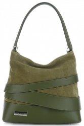 módní a elegantní kožená italská kabelka Vittoria Gotti tmavě zelená