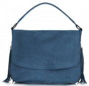 Vittoria Gotti Kožená kabelka listonoška Modrá - Jeans