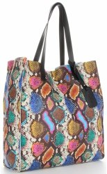 Vittoria Gotti Exkluzivní Kožené Kabelky Shopperbag XL hadí s kosmetickou Multicolor