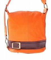 Kabelka batůžek měkká přírodní kůže pomeranč