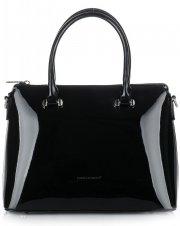Dámská kabelka kufřík David Jones lakovaná černá