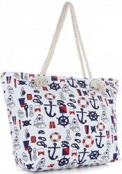 Univerzální Plážová dámská kabelka XXL Námořní vícebarevný bílá