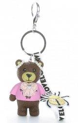 Přívěšek ke kabelce Hipster medvídek z kaučuku čokoládový
