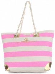 Elegantní Plážová dámská kabelka XXL Royal Růžová