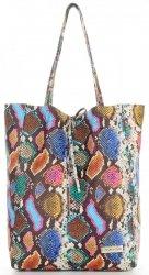 Vittoria Gotti Kožené Kabelky Shopperbag XL hadí vzor Multicolor