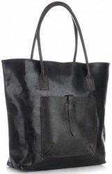 Univerzální kožená italská kabelka XXL Genuine Leather na každý den Černá