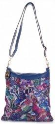 Módní Kožená kabelka listonoška multicolor - Tmavě modrá