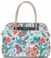 Dámská kabelka kufřík David Jones květovaná Béžová