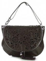 Vittoria Gotti Dámská kožená kabelka listonoška – vysoká kvalita čokoláda