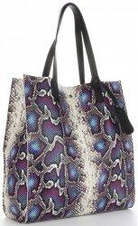 Vittoria Gotti Exkluzivní Kožené Kabelky Shopperbag XL hadí vzor s kosmetickou Fialová