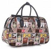 STŘEDNÍ cestovní taška kufřík Or&Mi Poštovní známky Multicolor - hnědá