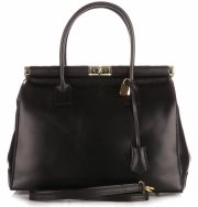 Kožené kabelky kufříky XL Genuine Leather černý
