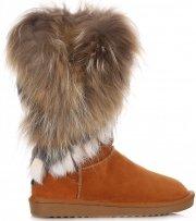 Kožené Dámské boty sněhule mýval/králík zrzavy