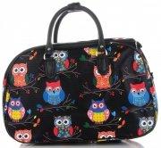 Velká cestovní taška kufřík Or&Mi vzor v sovy Multicolor - černá -