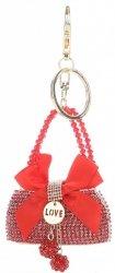 Přívěšek ke kabelce  Elegantní kabelka s mašličkou a zirkony červená
