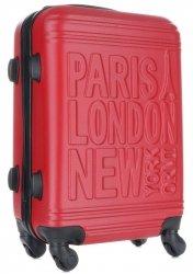 Módní Palubní kufřík Or&Mi Paris/London/NewYork 4 kolečka červená