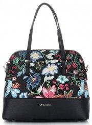 Kufříky Dámská kabelka s květinami David Jones Černá