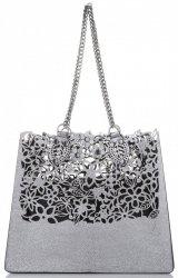 Elegantní kožená italská kabelka Vittoria Gotti Made in Italy Shopperbag XL s kosmetickou Stříbrná