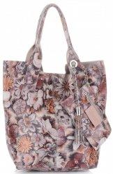VITTORIA GOTTI Made in Italy Módní Kožená kabelka Shopperbag vzor v květech multicolor - růžová