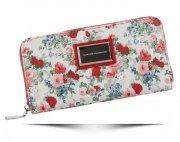 Modny Portfel Damski XL wzór w kwiaty Diana&Co Multikolor Czerwony