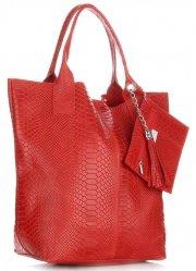 Włoskie Torebki skórzane typu Shopper bag Aligator Czerwona