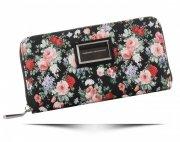 Modny Portfel Damski XL wzór w kwiaty Diana&Co Multikolor Czarny