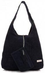 Oryginalne Torby Skórzane XL VITTORIA GOTTI Shopper Bag z Etui Granat