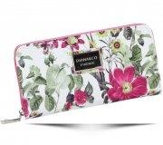 Modny Portfel Damski Diana&Co Firenze wzór Kwiatów Fuksja