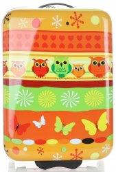 Modne Walizki Kabinówki Dla Dzieci w Sowy Firmy Snowball Multikolor - Pomarańczowa