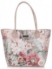 Duża Torba Skórzana Vittoria Gotti Kufer XL w Kwiaty Multikolorowa Szara