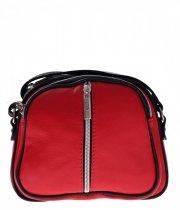 Listonoszki skórzane Genuine Leather 3 przegrody Czerwona