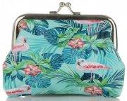 Modne Portmonetki Damskie firmy David Jones Multikolor Flamingi & Tropikalne Wzory