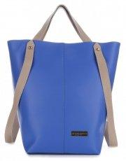 VITTORIA GOTTI Made in Italy Ekskluzywna Torba Skórzany Shopperbag XXL Niebieska z Beżem
