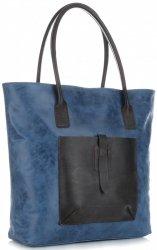 Uniwersalna Torebka Skórzana XXL Genuine Leather Niebieska - Jeans