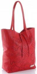 Vittoria Gotti Włoski Skórzany ShoppeBag z Kosmetyczką w modne wycinane wzory Czerwony