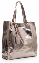 Torba Skórzana Shopper Bag z Kosmetyczką Stare Złoto