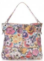 Uniwersalne Torebki Skórzane Vittoria Gotti we Wzory Kwiatów Multikolorowe Beżowe