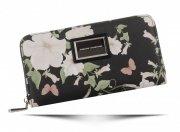 Stylowe Portfele Damskie w kwiaty marki Diana&Co Multikolor Czarny