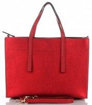 Vittoria Gotti Klasyczna Torebka Skórzana Modny Kuferek Made in Italy Czerwona