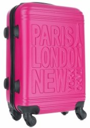Modna Walizka Kabinówka Or&Mi Paris/London/NewYork 4 kółka Fuksja