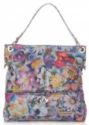 Uniwersalne Torebki Skórzane Vittoria Gotti we Wzory Kwiatów Multikolorowe Granatowe