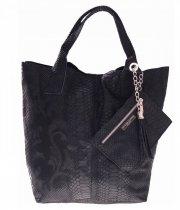 Włoskie Torebki skórzane typu Shopper bag Czarna