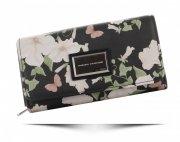 Modny Portfel Damski w kwiaty i motyle marki Diana&Co Multikolor Czarny