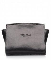 Módní kožená kabelka listonoška Vera Pelle černá