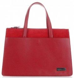 VITTORIA GOTTI Made in Italy Elegantní Dámská kabelka kožená kufřík červená