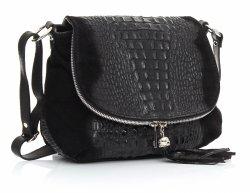Kožená kabelka listonoška Genuine Leather aligátor Černá