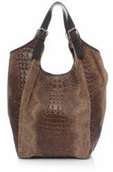 Velká dámská kožená taška italské výroby Aligator zemitá
