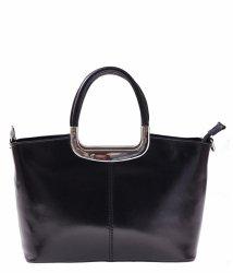 Klasická kožená kabelka  genuine leather cčerný