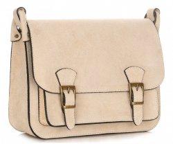 kožená kabelka listonoška Genuine Leather béžová