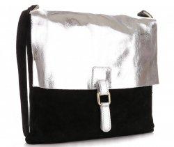 Módní kožená kabelka listonošky černá stříbrná